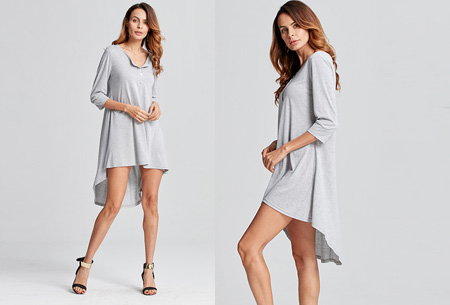 Pastel t-shirt dress | Comfortabele basic in 5 kleuren  Grijs