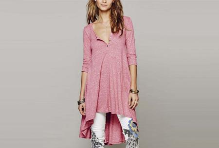 Pastel t-shirt dress | Comfortabele basic in 5 kleuren  Roze