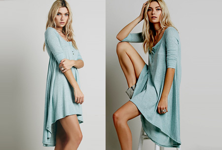 Pastel t-shirt dress | Comfortabele basic in 5 kleuren  Mintgroen