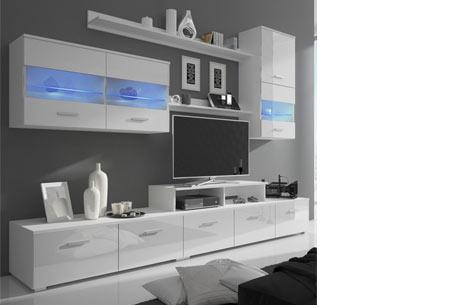 tv meubel set met led verlichting en moderne hoogglans afwerking
