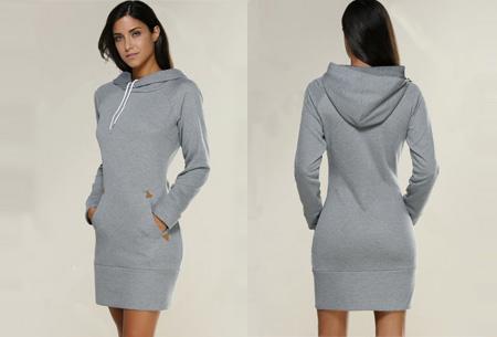 Comfy sweater dress | Met fleece binnenvoering en keuze uit 5 kleuren Grijs