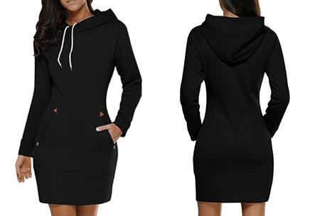 Comfy sweater dress | Met fleece binnenvoering en keuze uit 5 kleuren Zwart