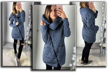 Oversized dames vest | Hip & comfy vest om heerlijk in weg te kruipen! T/m maat 5XL blauw