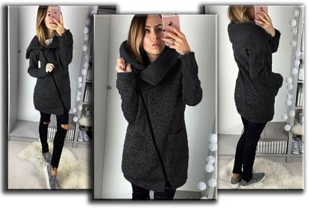 Oversized dames vest | Hip & comfy vest om heerlijk in weg te kruipen! T/m maat 5XL donkergrijs