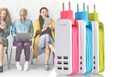 Multi USB oplader met 6 uitgangen