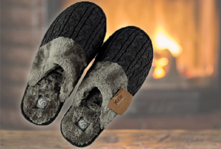 XQ Home pantoffels voor dames en heren   Met heerlijk zachte en warme binnenvoering  antraciet ♂