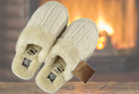 XQ Home pantoffels voor dames en heren   Met heerlijk zachte en warme binnenvoering  ecru ♀