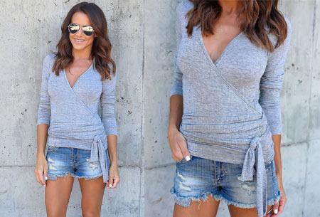 Overslagtop | Hip & vrouwelijk shirt met verleidelijke V-hals grijs