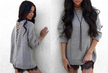 Laced Back trui met enorme korting | Sexy, comfortabel en helemaal on trend! grijs