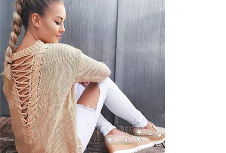 Laced Back trui met enorme korting | Sexy, comfortabel en helemaal on trend! nude