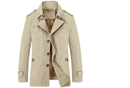 Heren najaarsjas | Stoere & stijlvolle jas met zachte, warme binnenvoering beige