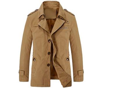 Heren najaarsjas | Stoere & stijlvolle jas met zachte, warme binnenvoering khaki