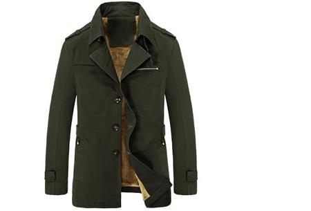 Heren najaarsjas | Stoere & stijlvolle jas met zachte, warme binnenvoering legergroen