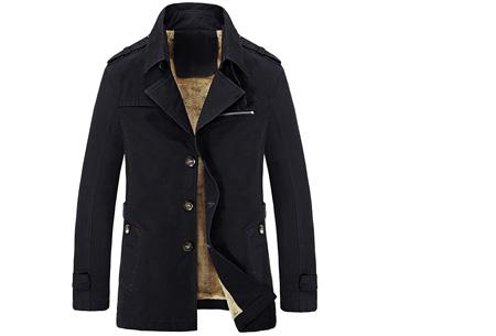 Heren najaarsjas | Stoere & stijlvolle jas met zachte, warme binnenvoering zwart