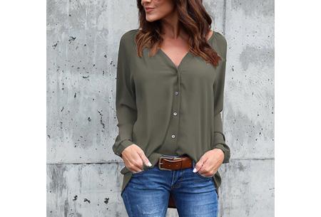 Button blouse | Verkrijgbaar in 8 kleuren  army groen