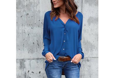 Button blouse | Verkrijgbaar in 8 kleuren  blauw