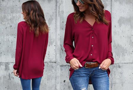 Button blouse | Verkrijgbaar in 8 kleuren  wijnrood