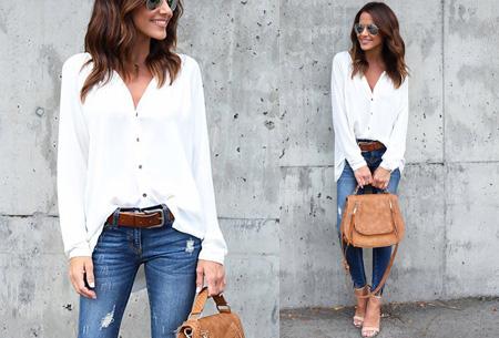 Button blouse | Verkrijgbaar in 8 kleuren  wit