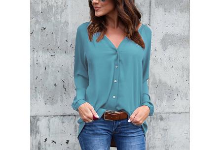 Button blouse | Verkrijgbaar in 8 kleuren  zeegroen