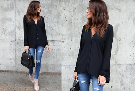 Button blouse | Verkrijgbaar in 8 kleuren  zwart