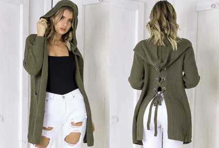 Laced Back cardigan | Warm, comfortabel & helemaal on trend! legergroen