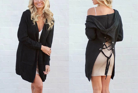 Laced Back cardigan | Warm, comfortabel & helemaal on trend! zwart