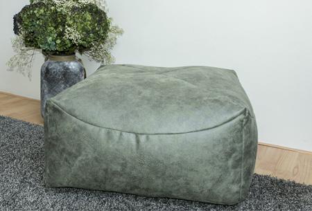 Drop & Sit leather look zitzak kussen, stoel of poef in diverse uitvoeringen & kleuren poef vierkant