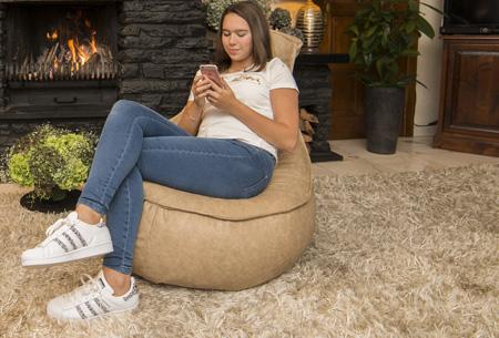 Drop & Sit leather look zitzak kussen, stoel of poef in diverse uitvoeringen & kleuren noa stoel