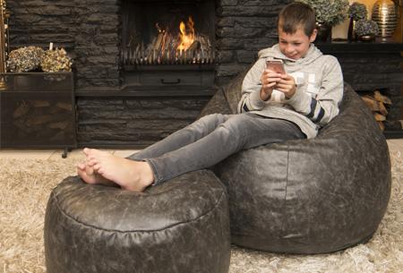 Drop & Sit leather look zitzak kussen, stoel of poef in diverse uitvoeringen & kleuren