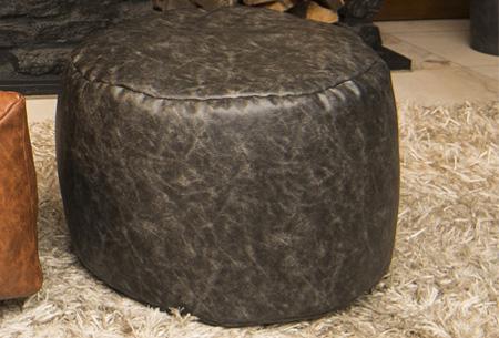Drop & Sit leather look zitzak kussen, stoel of poef in diverse uitvoeringen & kleuren poef rond