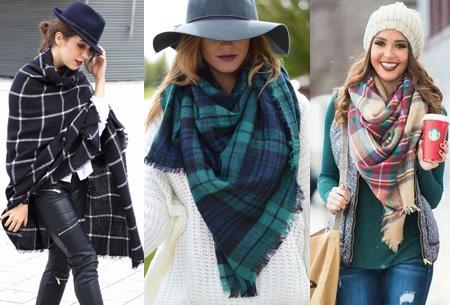 Oversized tartan sjaal