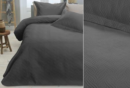 Luxe Wave bedsprei met bijpassende sierkussenslopen | Voor een chique uitstraling! antraciet