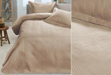 Luxe Wave bedsprei met bijpassende sierkussenslopen | Voor een chique uitstraling! sand