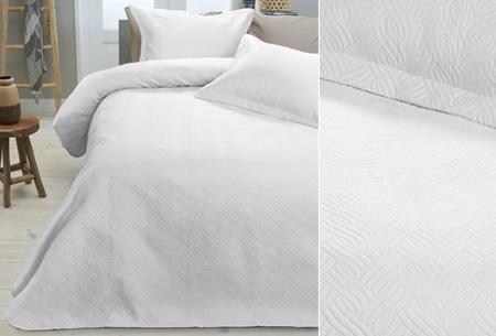 Luxe Wave bedsprei met bijpassende sierkussenslopen | Voor een chique uitstraling! wit