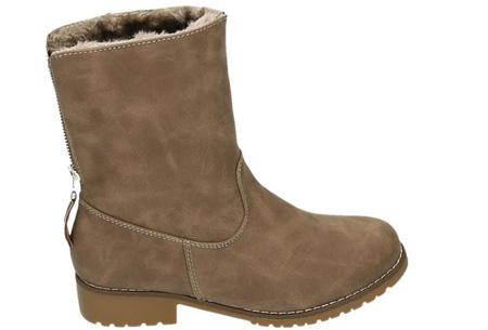 Gevoerde Zipper enkellaarsjes | Stijlvolle winterschoenen met imitatiebont Khaki