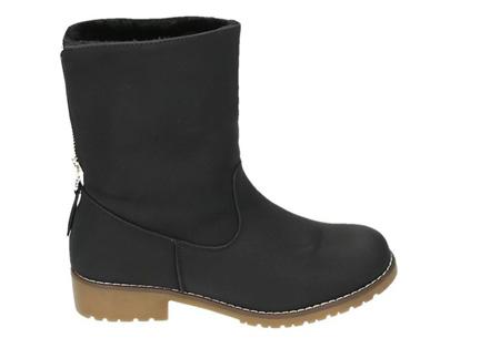 Gevoerde Zipper enkellaarsjes | Stijlvolle winterschoenen met imitatiebont Zwart