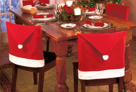 Kerst tafeldecoratie 4x stoelhoes + gratis 4x bestekhouder