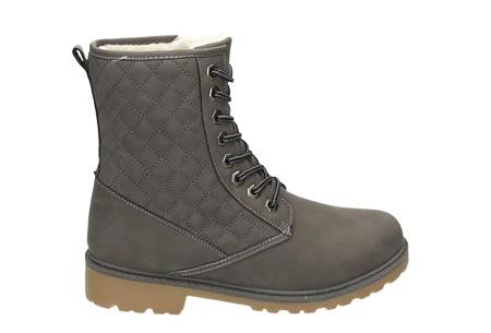 Gevoerde Pattern boots | Met heerlijk warme fluffy binnenvoering  Grijs
