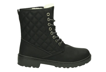 Gevoerde Pattern boots | Met heerlijk warme fluffy binnenvoering  Zwart
