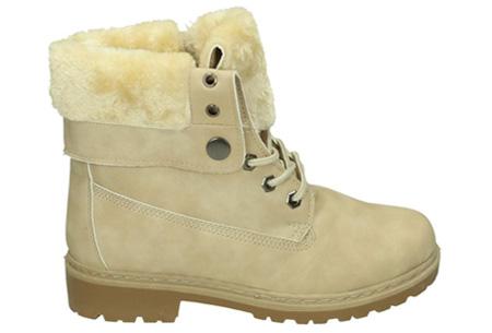 Enkellaarzen met fluffy binnenvoering | Heerlijk warme winterschoenen in maat 37 t/m 42 Beige