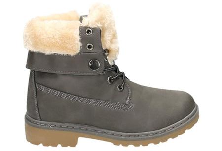 Enkellaarzen met fluffy binnenvoering | Heerlijk warme winterschoenen in maat 37 t/m 42 grijs
