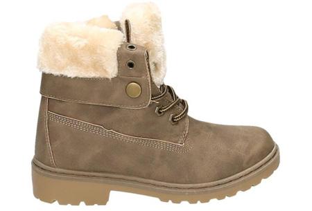 Enkellaarzen met fluffy binnenvoering | Heerlijk warme winterschoenen in maat 37 t/m 42 khaki
