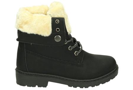 Enkellaarzen met fluffy binnenvoering | Heerlijk warme winterschoenen in maat 37 t/m 42 zwart