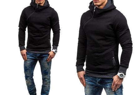 Zip hoodie | Met comfy fleece binnenzijde  Zwart/antraciet