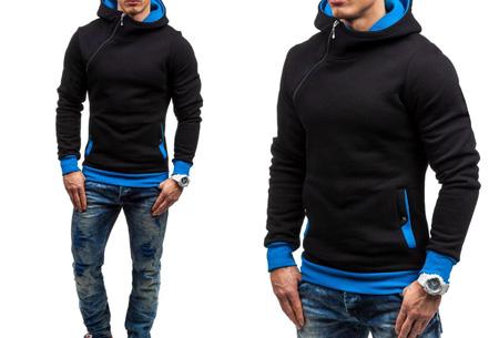 Zip hoodie | Met comfy fleece binnenzijde  Zwart/blauw