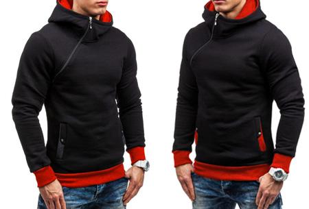 Zip hoodie | Met comfy fleece binnenzijde  Zwart/rood