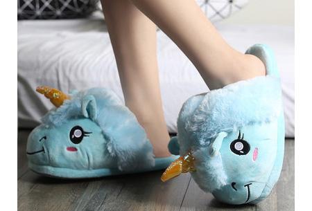 Eenhoorn sloffen | Knusse & warme pantoffels met unicorn ontwerp Blauw