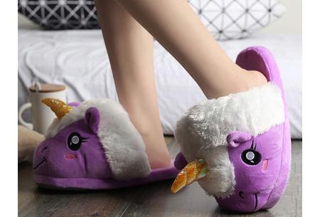 Eenhoorn sloffen | Knusse & warme pantoffels met unicorn ontwerp Paars