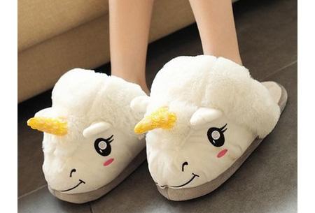Eenhoorn sloffen | Knusse & warme pantoffels met unicorn ontwerp Wit