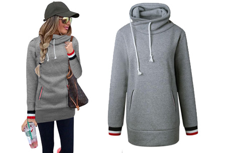 Colorful col sweater | Comfortabel, lang en extra zacht materiaal Grijs